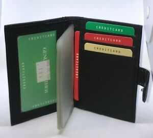 Real Leather Credit Card Holder Push Button Closure Wallet Purse Black Unisex
