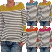 Women Striped Long Sleeve Sweater Pullover Sweatshirt Warm Casual Jumper Tops XL