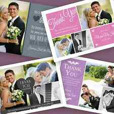 50 Personalised Wedding Thank You Cards with your photos + Envelopes