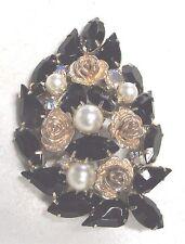 Vintage 50's Chunky Rose Flower Plastic Pearl Glass Rhinestone Bead Pin Brooch