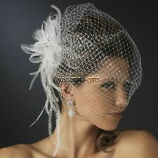 Jeweled Feather Fascinator with Birdcage Veil Bridal Hairpiece White