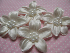 30 2-Layer Cute Pearl  Ribbon Flower/Poinsettia-Ivory RF074