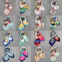 Women Elegant Square Silk Feel Satin Scarf Skinny Retro Head Neck Hair Tie Band
