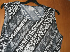 Haut sans manches noir et blanc - MS MODE - Taille XL (48/50) - TRES BON ETAT