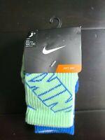 Nike Kids Crew Socks 3-pair Green White Blue Size 5-6, 10C-13C BNK4493 NWT $16