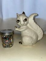 Vintage Ceramic White Gold Squirrel Planter Decor Vase Danish Modern Mid Century