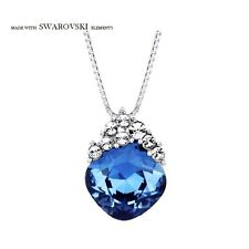 Made With Sparkly Stylish Montana Blue Swarovski Crystal Necklace Chain Pendant
