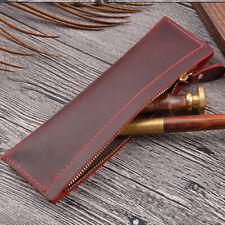 Handmade Cowhide Leather Pen Bag Zipper Pencil Case Vintage Stationery Storage