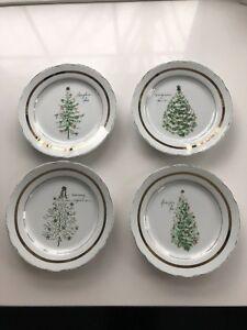 Pottery Barn Vintage Christmas Tree Appetizer Plates set/4 2018 NIB