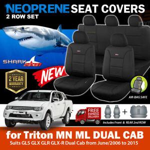 SharkSkin Neoprene Seat Covers Triton MN ML Dual CAB GLS GLR GLX-R 2Rows 2006-15