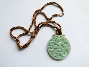 Carved Jade, Large Circular Dragon Pendant on rope chain with 9ct Yellow Gold