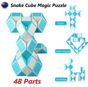 Snake Cube Magic Puzzle 48 Parts 3D Puzzle Toy Magic Ruler Kids Educational Toy