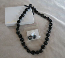 "NIB Lee Sands 33"" Black Kukui Nut Ribbon Necklace & Earring Set - QVC"