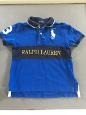 "POLO RALPH LAUREN Toddler Boys Shirt, 4T, Sapphire Blue ""3"" Big Pony, EUC"