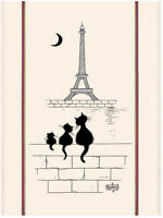 Torchons & Bouchons French Cat Family Eiffel Tower Paris DUBOUT Dish Towel $21.5