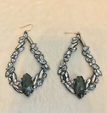 "Alexis Bittar Silvertone White Swarovski Crystal Green Stone Earrings, Wires, 3"""