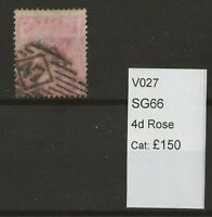 GB Queen Victoria Surface Printed SG66 4d Rose