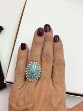 Lucky Brand Tribal Turquoise and Silver Ring, Size 7 #115