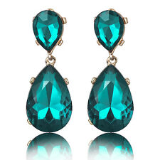 Glamorous Gold Plated Peacock Blue Crystal Long Dangle Statement Earrings