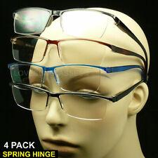 Reading glasses men women rimless spring hinge 4 pair lens power lot pack new