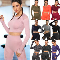 Women Yoga Long Sleeve T-Shirt Gym Crop Top Fitness Running Sports Suit Athletic