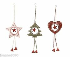 METAL HANGING NORDIC CHRISTMAS TREE DECORATION STAR HEART BELL FESTIVE HOME GIFT