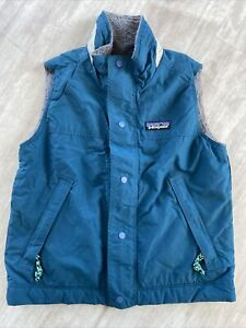Kids Patagonia Fleece Lined Vest Teal Blue EUC Small