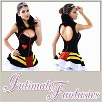 Black Sexy Queen of Hearts Costume Fancy Dress Outfit Roleplay Size 10 12 14