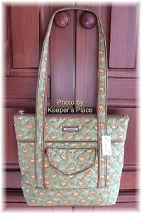 Longaberger Sunflower Paisley Green Quilted Faux Leather Bag Retired New Tag