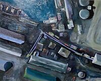 MURRAY AERIAL VIEW PAINTING IMPRESSIONIST ABSTRACT LONG BEACH CALIFORNIA