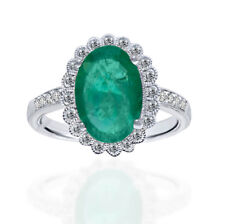 2.49 ctw Quality Natural Emerald & Diamond Engagement oval cut White Gold Ring