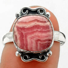 Natural Rhodochrosite Argentina 925 Sterling Silver Ring s.9 Jewelry E830