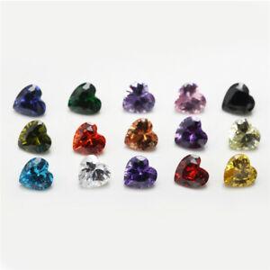 1PCS Per Colors Total 15pcs Size 3x3~10x10mm Heart Shape Loose Cubic Zirconia