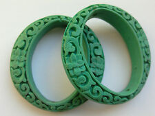 2 Turquoise Carved Oval Cinnabar Lacquerware Beads, 50mm x 49mm, Jewellery