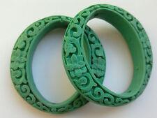 2 turquoise sculpté cinabre Laque perles ovales, 50 mm. bijoux/perles