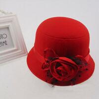 Stylish Women Ladies Vintage Elegant Cloche Flower Rose Bucket Hat Headwear