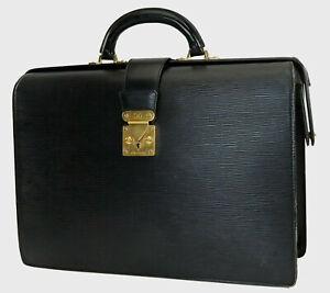 Auth LOUIS VUITTON Serviette Fermoir Black Epi Briefcase Business Bag #39084