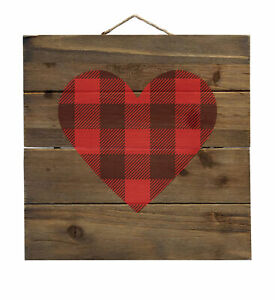 Buffalo Heart - Red Black Plaid - Decorative WOOD Wall Art
