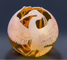 The Great Blue Heron Sand Carved Art Glass by Cynthia Myers