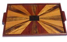 2 Mahogany & Rare Wood Inlaid Trays Navy Exchange Subic Bay Philippines