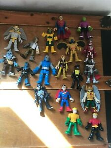 Large Lot of 18 Imaginext Superman Super Heros Winged Characters Plastic Poseabl