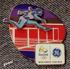 Hurdles Olympic Sponsor Pin~Track & Field~2016 RIO Logo~Slider~3D~GE~Brazil