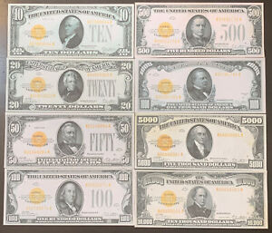 Reproduction Set 1928 Gold Certificates $10-$10,000 COMPLETE SET 8 Notes USA