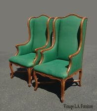 Pair of French Provincial Green Tallback Accent Chairs