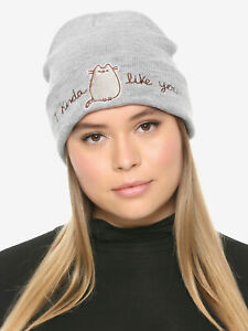 New Pusheen The Cat I Kinda Like You Knit Beanie Hat Cap Embroidered
