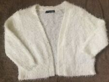 NWOTs Ladies/Girls Crop Cardigan In White With Sequin Detail Size 12