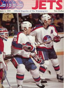 1 - 9 1/2 x 13 Winnipeg Jets Program Jan 4th 1989 Vs Vancouver Canucks
