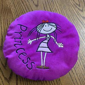 """Purple PRINCESS Round Kid's Pillow 12"""""""