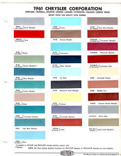1961 CHRYSLER IMPERIAL DODGE DE SOTO PLYMOUTH LANCER TRUCK 61 PAINT CHIPS 28PCD3
