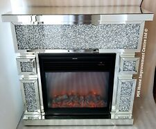 LED Electric Fireplace Surround Mirrored Sparkly Silver Diamond Crush Crystal